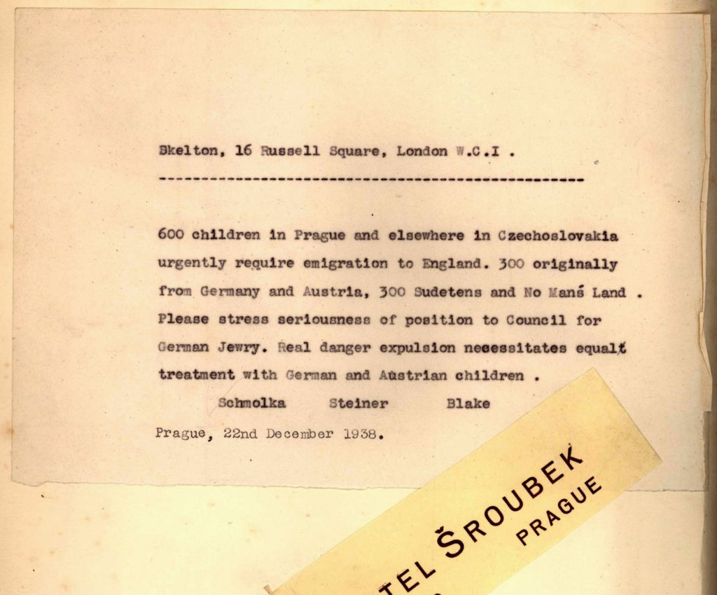 Kopie výzvy z archivu Nicholase Wintona