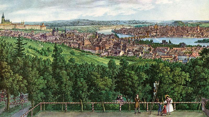 Vincenc Morstadt - Mírohorský rád kneippoval na Petříně (pohled na Petřín z Nebozízku) (1830)