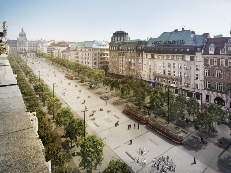 Letecký pohled na revitalizované Václavské náměstí